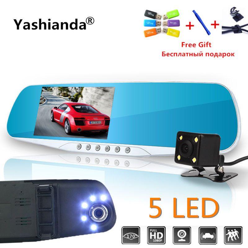 Yashianda Vehicle Car Dvr Dual Len Rear View Mirror 4.3 Inch Auto <font><b>Dashcam</b></font> Recorder Car Video Full HD Dash Cam Car Dual Camera