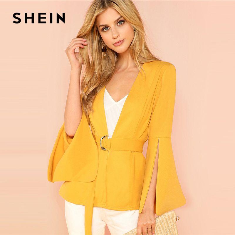 SHEIN Yellow Split Sleeve Belted Outerwear <font><b>Office</b></font> Ladies Long Sleeve Plain Wrap Workwear Coat Women Autumn Elegant Clothes