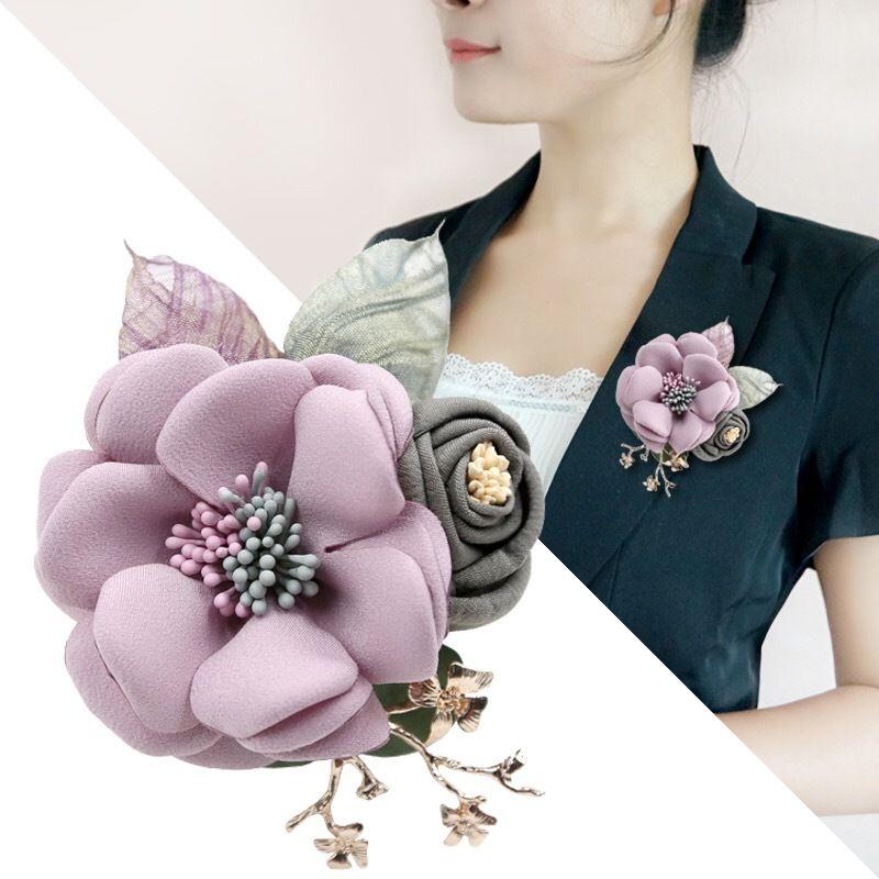 Fabric flower brooch jewelry brooch pin cardigan jacket beautiful lady high-end fashion accessories flowers