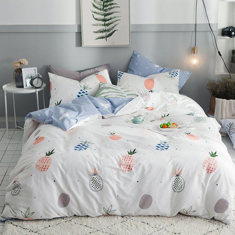 2018 Fresh Fruits Pineapples Bedding Set Cotton Twin Queen Size 3/4Pcs Print Duvet Cover Flat Sheet/Fitted Sheet Pillowcases