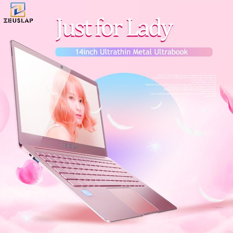 ZEUSLAP Lady Rose Pink Ultrathin Metal Laptop 6GB Ram Intel Quad Core CPU 14inch 1080P Full HD IPS Screen Notebook Computer