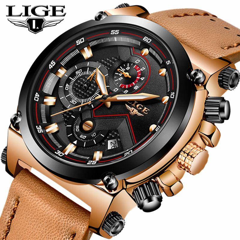 Uhren hombre LIGE Herren Uhren Top Brand Luxus Casual Quarzuhr Männer Leder Große Zifferblatt Militärische Wasserdichte Sport Uhren