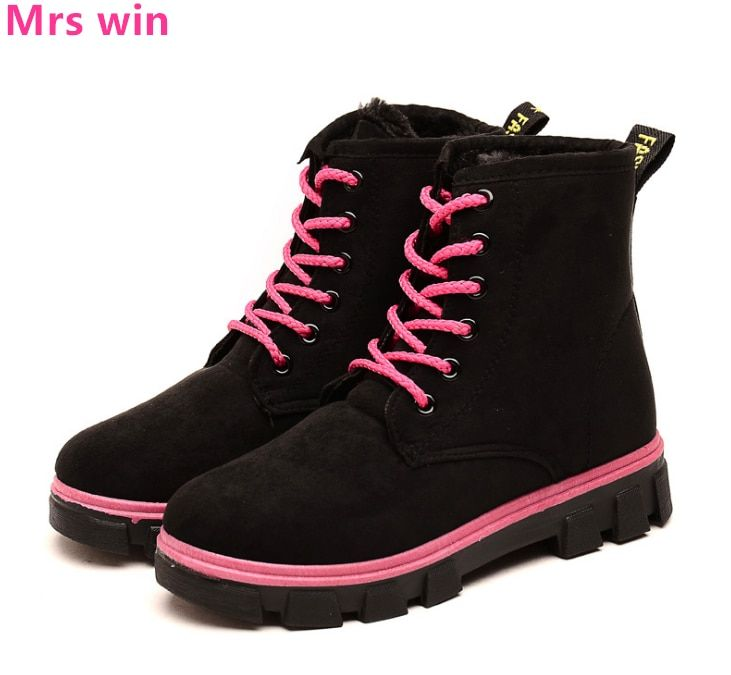 Autumn and Winter Boots Women Sneakers Outdoor Waterproof Skateboarding Shoes High-top Boots Sport Shoes Plus Cashmere Warm