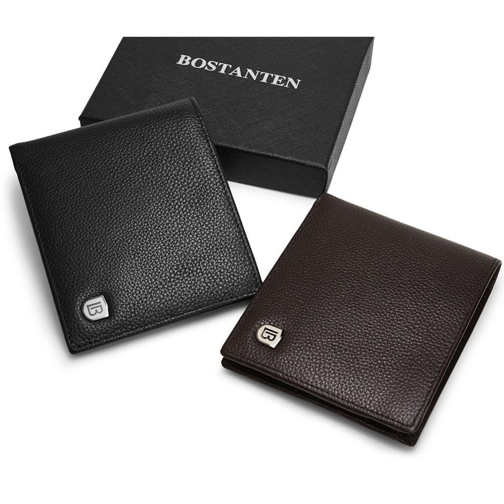 BOSTANTEN en cuir véritable hommes RFID portefeuilles avec boîte court sac à main Vintage luxe fait main portefeuille mâle Top vache en cuir étui à monnaie