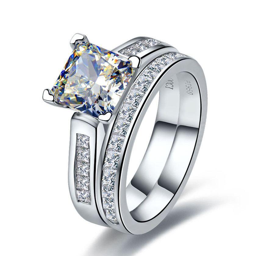 TRS102 Luxury Quality 2 Carat Princess Cut Best Quality NSCD <font><b>Synthetic</b></font> Gem Engagement Ring Set For Women,Wedding Set, Bridal Set