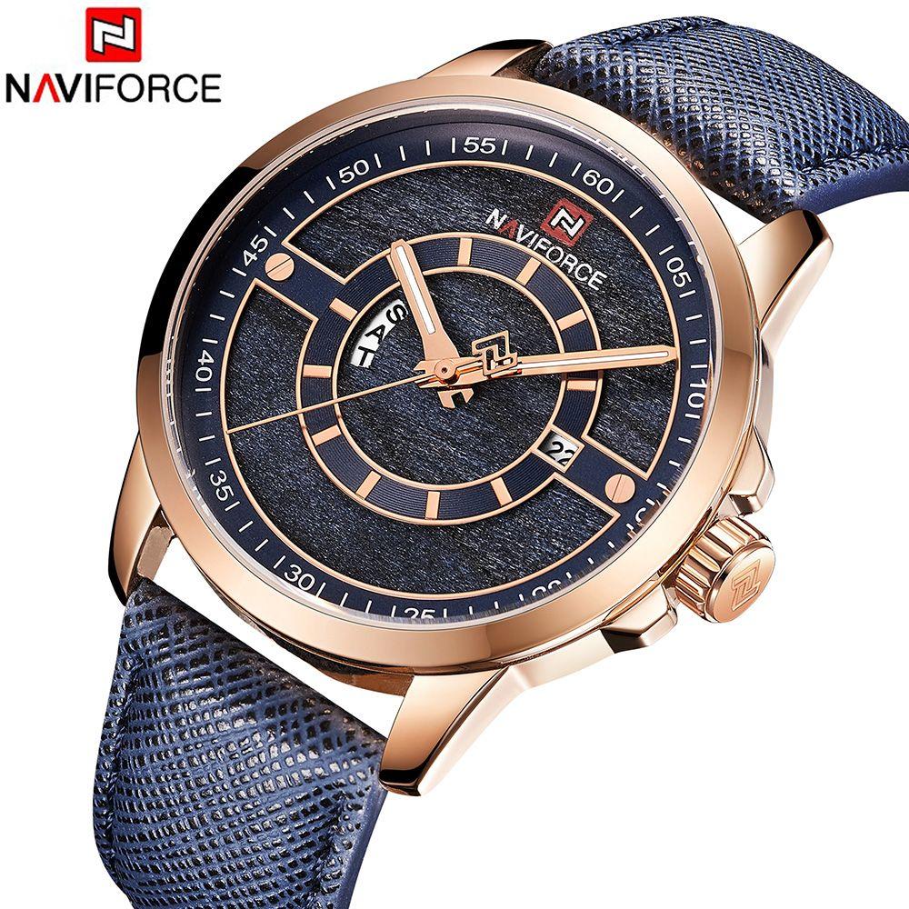 NAVIFORCE Neue Männer Uhr 3ATM Wasserdichte Männliche Top Marke Luxus Leder Armbanduhr Mann Datum Woche Quarz Mode Montre Homme 2018