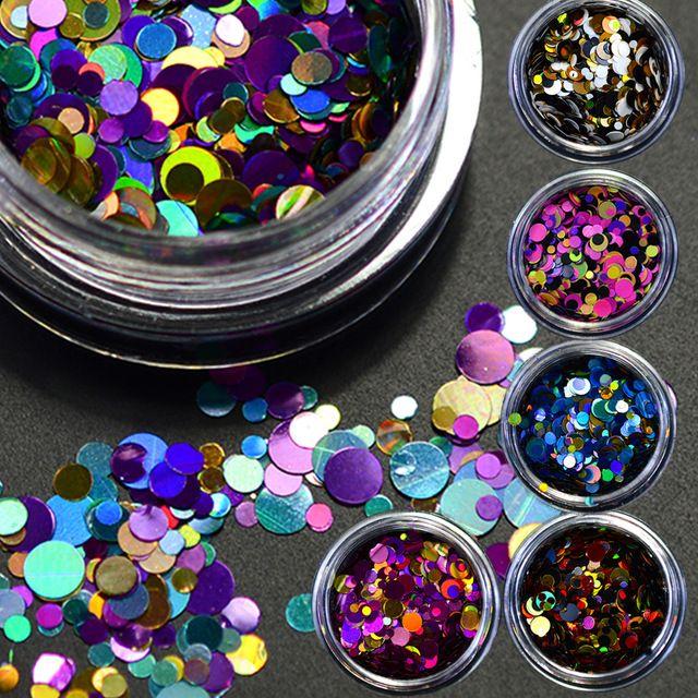 12 boîtes/ensemble couleur fantaisie chaude mélangé Mini ronde mince Nail Art Paillette paillettes ongles Gel vernis décoration manucure outils