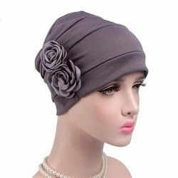 Free Shipping 2017 new elegant double 3d flower Muslim Islamic Hijab Inner Caps beanie Cap Sleep Turban Hat caps Bonnet