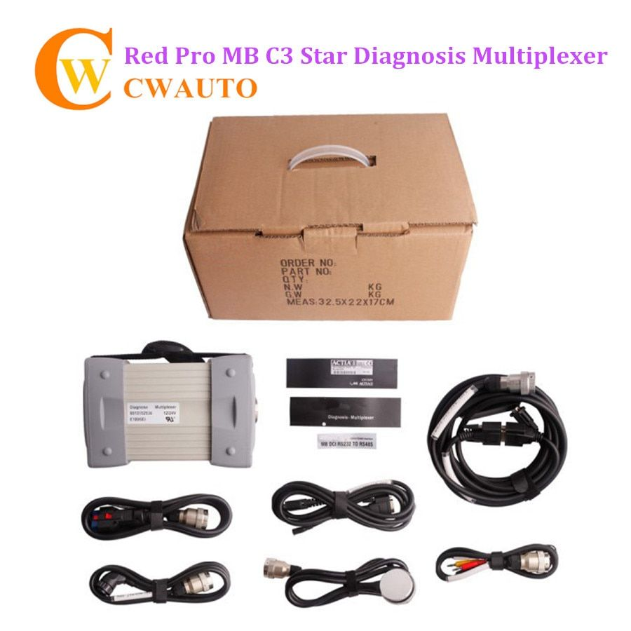 New MB Star C3 Pro Red Star Diagnostic Multiplexer with Seven Cable for Cars and Trucks without Software HDD Free Shipping