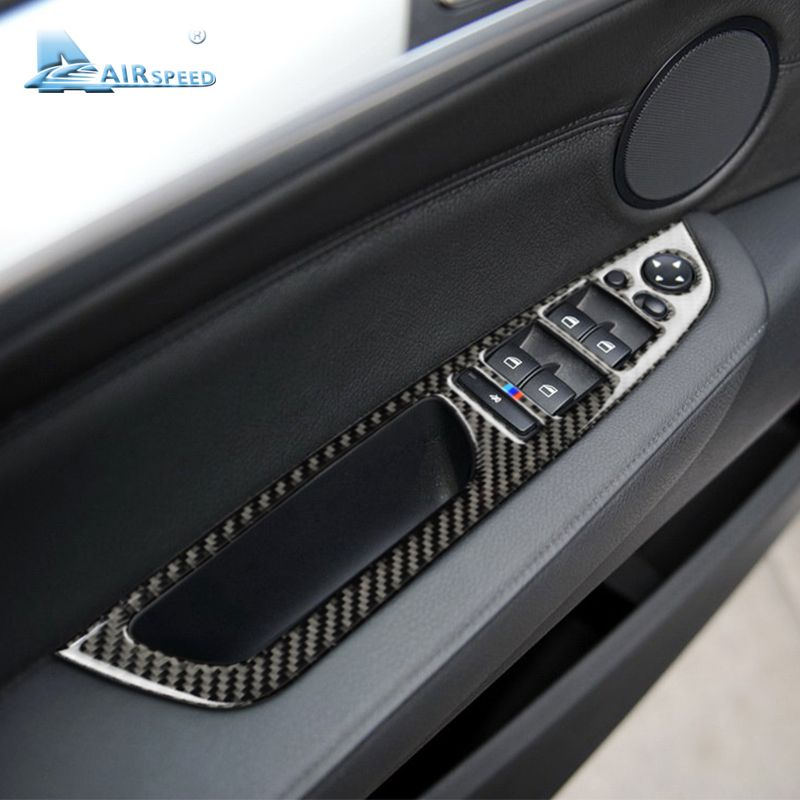 Airspeed Carbon Fiber Window Lifter Control Frame Window Switch Armrest Trims LHD for BMW E70 X5 E71 X6 Accessories Car Styling