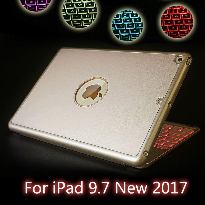 Für iPad 5/Air Hochwertige 7 Farben Hintergrundbeleuchtung Licht Drahtlose Bluetooth Tastatur-kasten-abdeckung Für iPad 9,7 Neue 2017 A1822 MATERIAL A1823