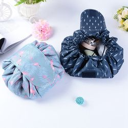 Animal Flamingo Cosmetic Bag Professional Drawstring Makeup Case Women Travel Make Up Organizer Storage Pouch Toiletry Wash Kit