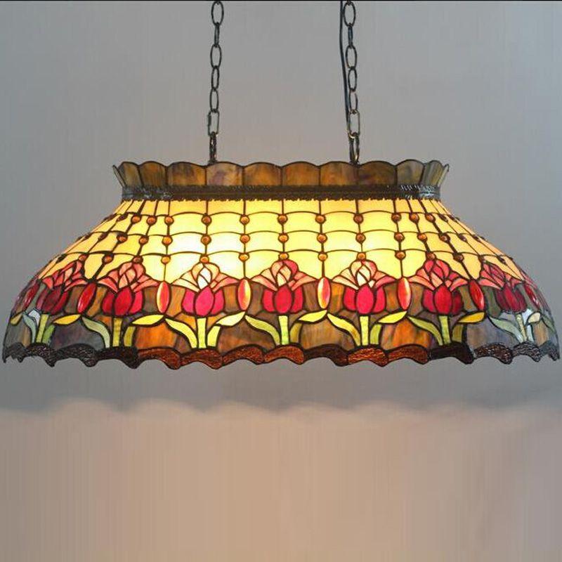 Tiffany cradle billard bar villa glas glasur farbe kunst anhänger lampe