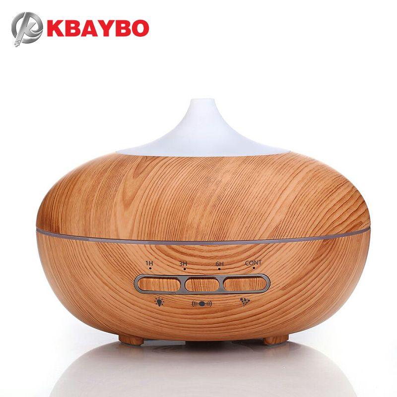 Automatic microwave sensor 300ml Aroma Diffuser Essential Oil Diffuser Aromatherapy Mist Maker with 7 Color LED Light Wood grain