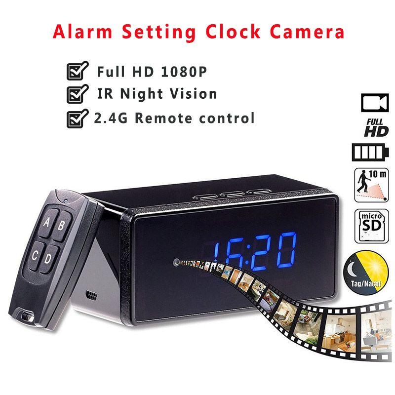 Remote Control Mini Camera Full HD 1080P Clock Camera Alarm Setting IR Night Vision <font><b>Table</b></font> Clock Camera Motion Detection Mini Cam