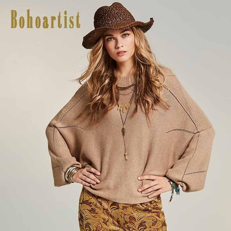 Bohoartist 2017 Autumn Fashion Sweater Slash Neck Plain Batwing Sleeve Light Apricot Casual Pullover Knitwear Loose Sweaters New