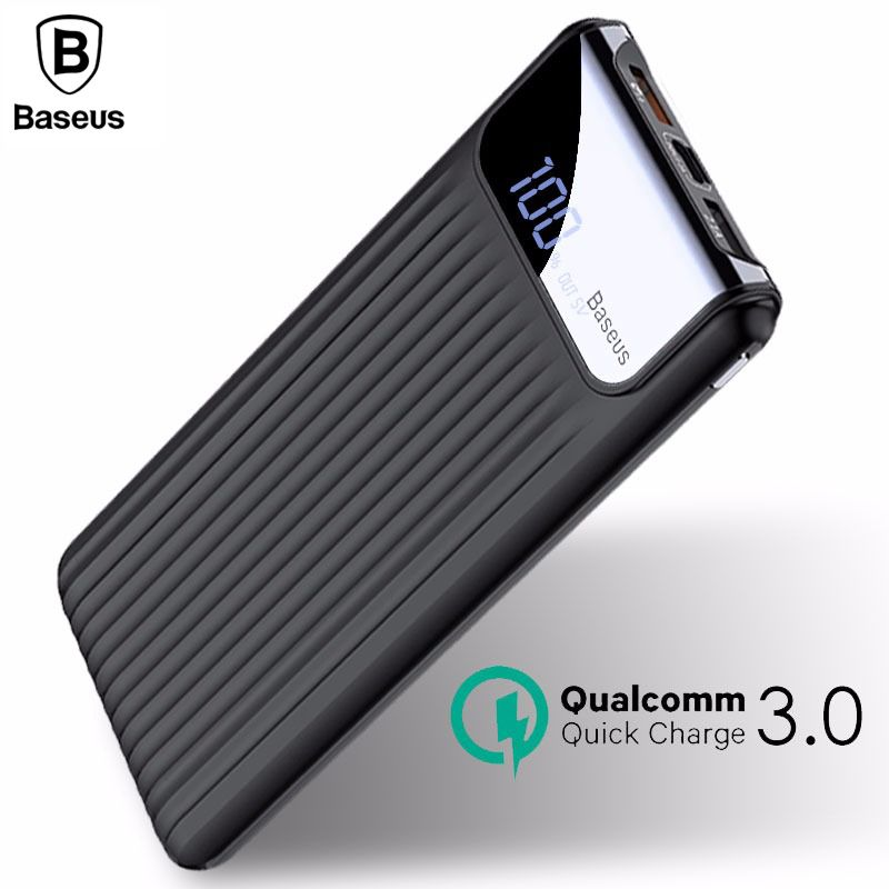 Baseus 10000mAh LCD Quick Charge 3.0 Dual USB Power <font><b>Bank</b></font> For iPhone X 8 7 6 Samsung S9 S8 Xiaomi Powerbank Battery Charger QC3.0