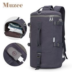 Muzee вместительный рюкзак дорожная сумка для мужчин багаж сумка на плечо холст ведро мужской рюкзак mochila masculina мужской рюкзак