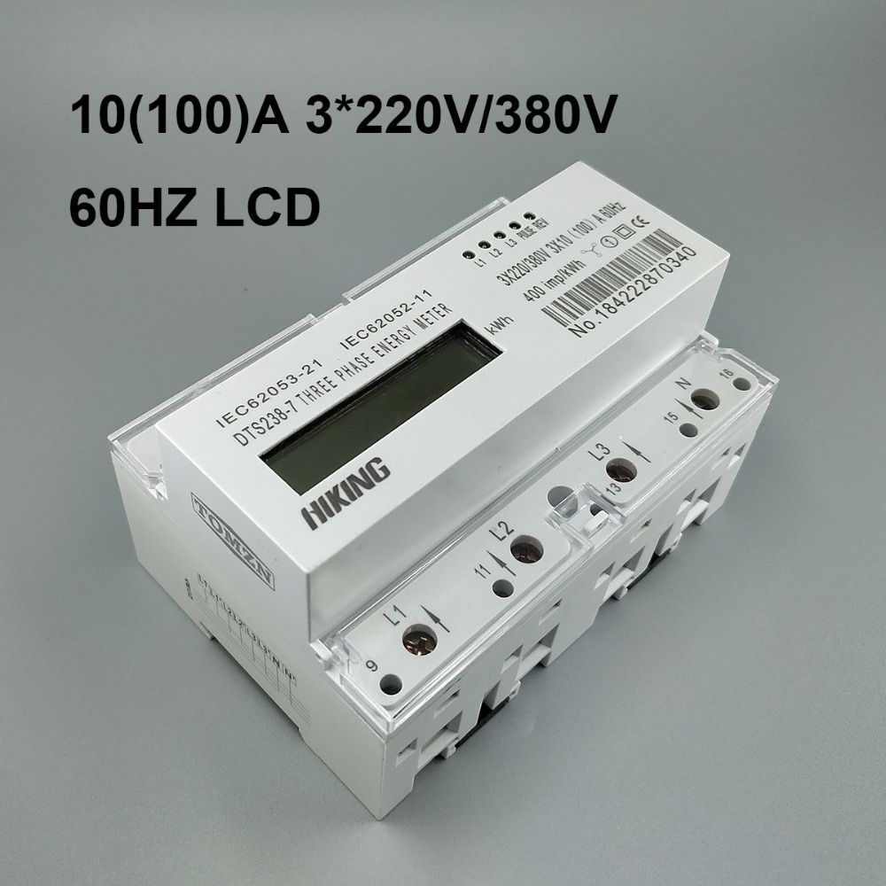 10(100)A 3*220V/380V 60HZ three phase Din rail KWH Watt hour din-rail energy meter LCD