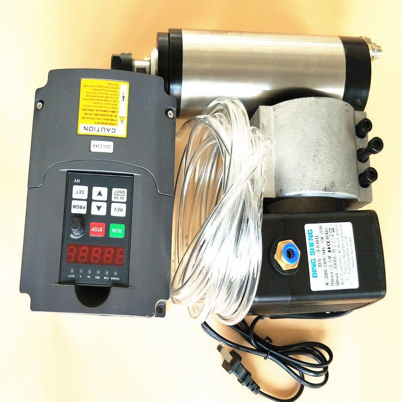 2.2kw spindle 220v 80mm CNC milling spindle motor+2.2kw inverter input110 output 110v +80mm spindle clamp+75w pump+5m pipes+ER20