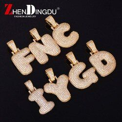 A-Z Custom Name Bubble Letters Necklaces & Pendant Chain For Men Women Gold Silver Color Cubic Zircon Hip Hop Jewelry Gifts