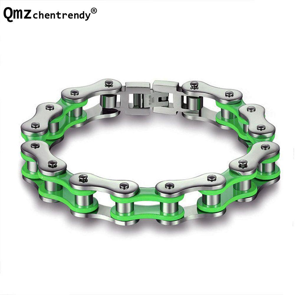 Acier inoxydable couleurs moto Biker chaîne bracelets vert & rouge & Orange couleurs vélo motard chaîne bracelets filles garçons bracelet
