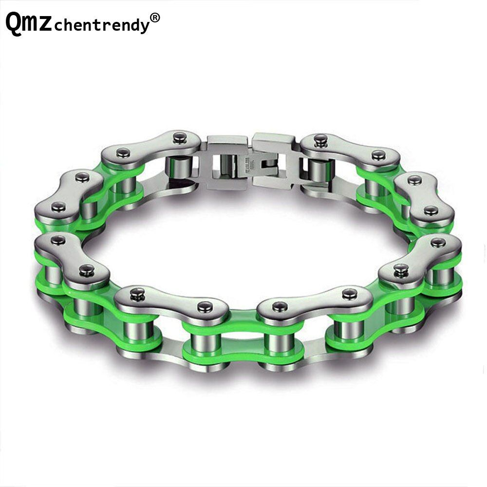 En acier inoxydable Couleurs Moto Biker Chain Bracelets Vert et Rouge et Orange Couleurs vélo biker Chain bracelets Filles Garçons bracelet
