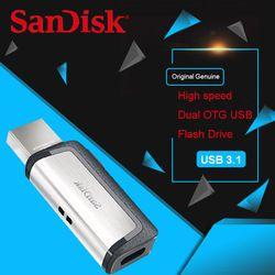 Asli SanDisk Extreme Tipe-C 128 GB 64 GB Dual OTG USB Flash Drive 32 GB Pen Drive USB stick Micro USB TYPE C 16 GB