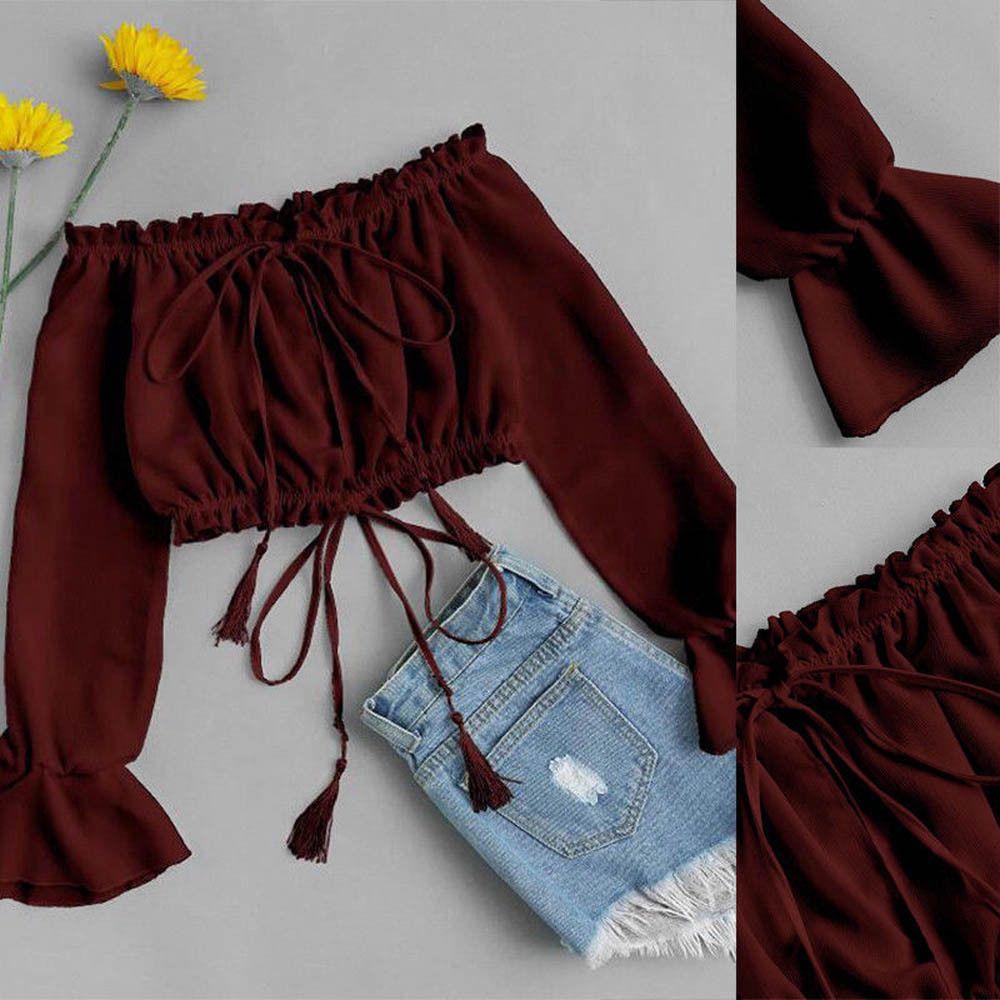 Été femmes Sexy hors épaule en mousseline de soie à manches longues imprimé Floral T-Shirt offre spéciale printemps recadrée vêtements à la mode hauts 2019