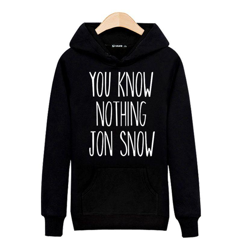 Hot Sale! YOU KNOW NOTHING JON SNOW Harajuku Sweatshirt Black For Street Wear Hoodies Men Luxury Brand Gray 4XL