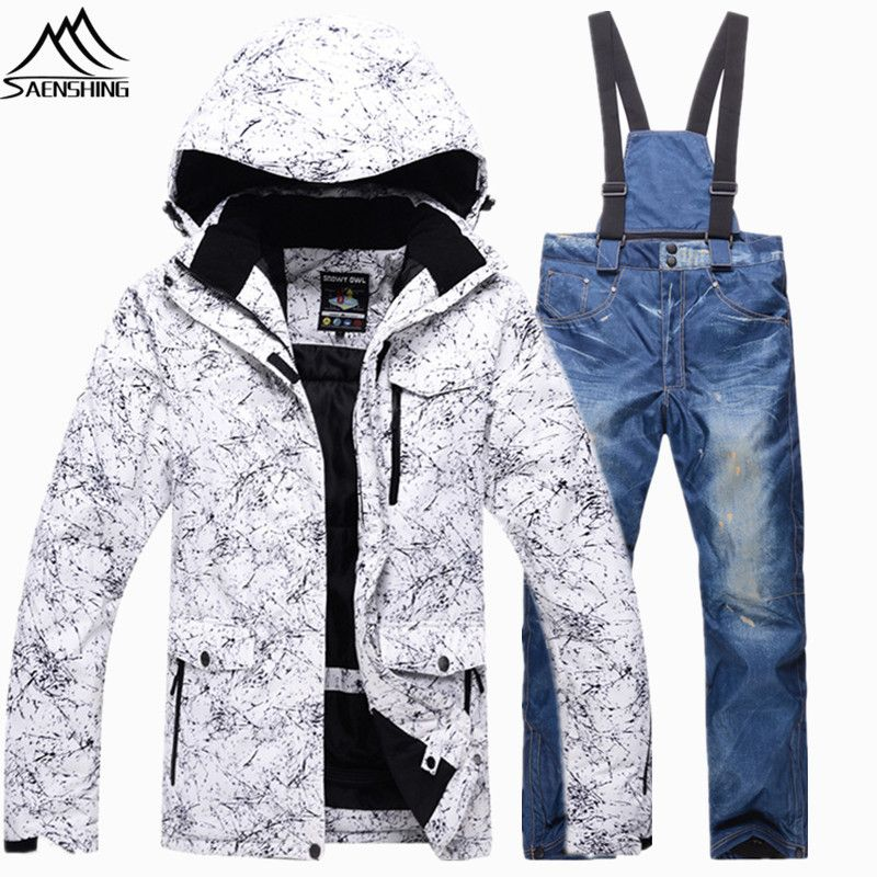 Saenshing Super Warm snowboarding suits Waterproof breathable ski suits for men ski jacket+denim snowboard pant skiing snow suit