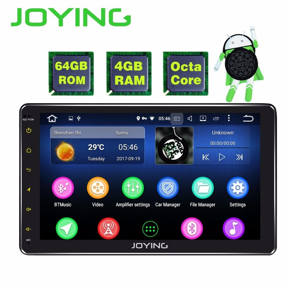 JOYING 4 GB RAM 64 GB ROM single 1 din 10 inch 8 Core Android 8.1 Car Radio Stereo head unit BT HD Player Support Apple-Carplay