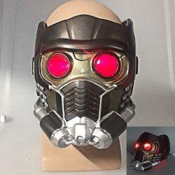 Cos penjaga galaxy helm cosplay peter quill helm PVC dengan Led Cahaya Bintang Lord Helm Halloween Party Masker orang dewasa