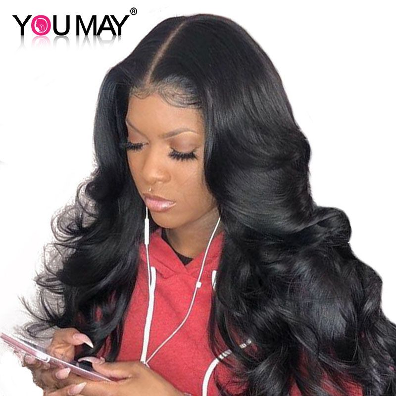 13x6 Lace Front Human Hair Wigs 250% Density Brazilian Body <font><b>Wave</b></font> Lace Front Wig Pre Plucked Non-remy Hair Bleached Knot You May