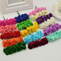 144 unids 1 cm barato flores de papel artificiales para la boda coche falso rosas utilizadas para caja del caramelo de la decoración DIY wreath hecho a mano