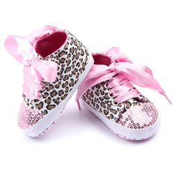 Toddler Soft Sole Crib Shoes Baby Shoes 2018 New Fashion Girls Floral Leopard Sequin Infant Soft Sneakers First Walkers 0-12M