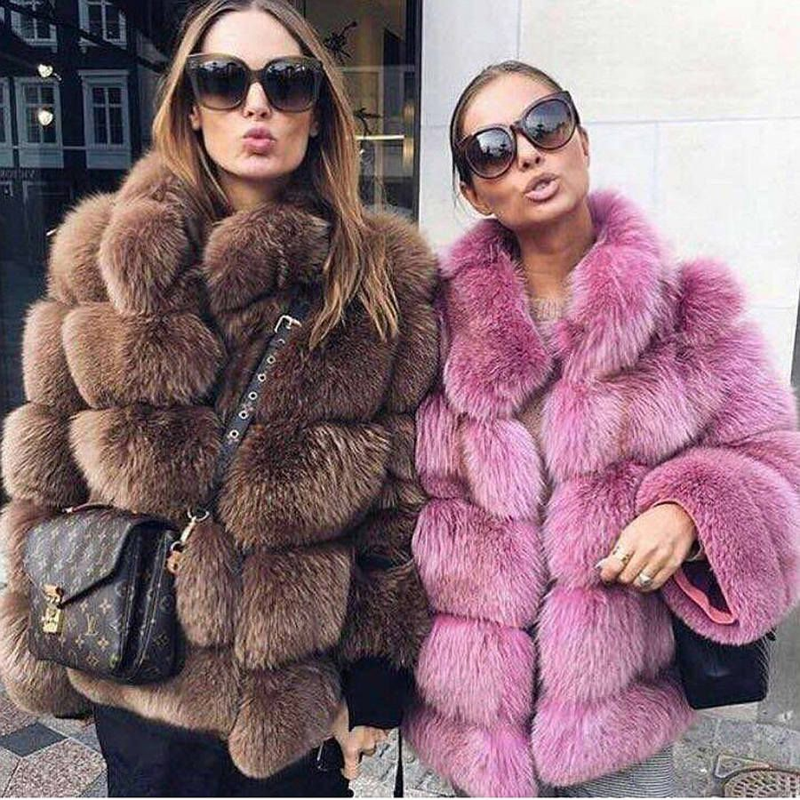 Pink Java QC8139 2017 new arrival women winter thick fur coat real fox fur jacket high quality fox coat stand collar outfit