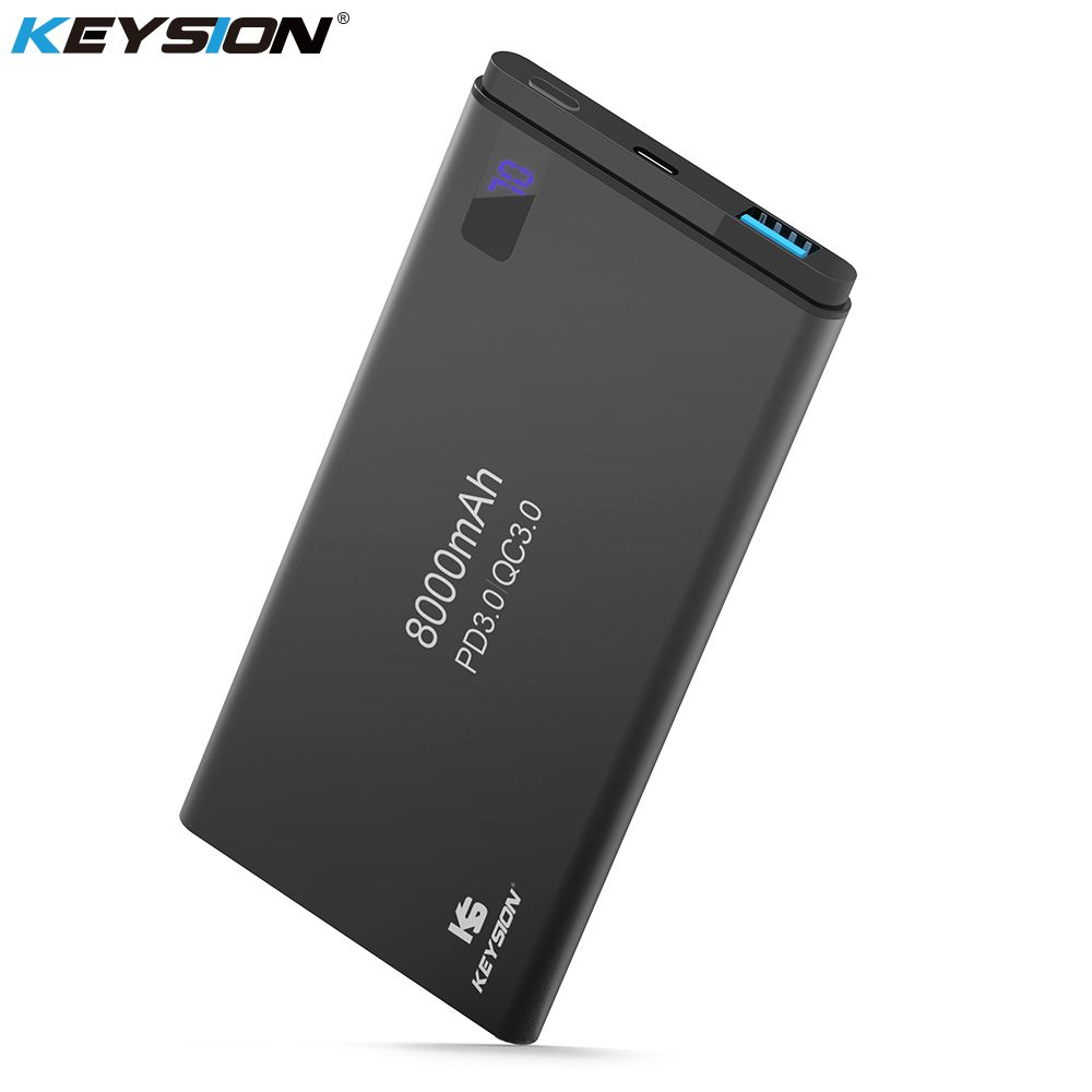 KEYSION 2 Port PD Fast Charge Power Bank 8000mAh QC 3.0 2.0 Quick Charge Portable Metal Battery Powerbank for iPhone X 8 8 Plus