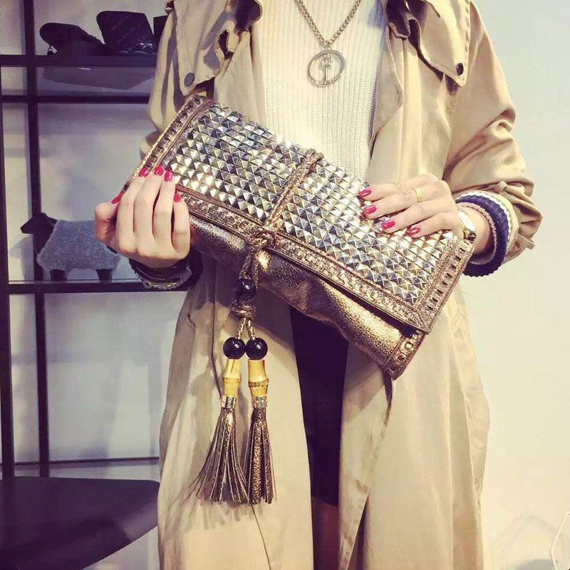 Женские сумки в стиле ретро с бахромой и заклепками Сумочка новая сумка тисненая кожа сумочка клатч женский