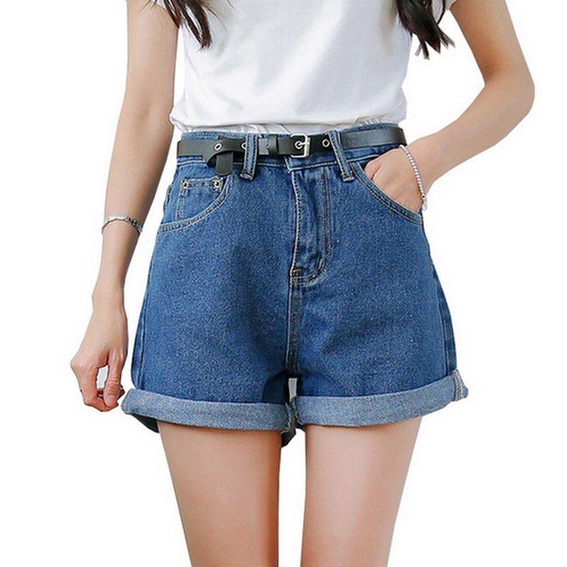 Solide femmes vêtements Denim Shorts avec poches nouveauté Harajuku été Ropa Mujer Slim pantalons courts Feminino jeans décontractés