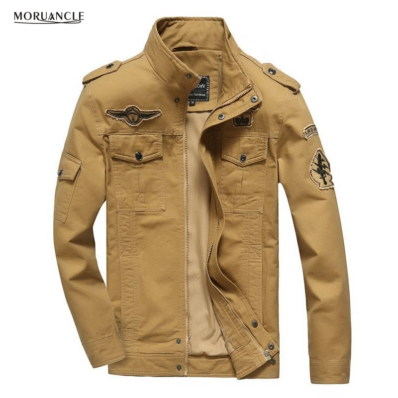 MORUANCLE Men's Casual Bomber Jackets Spring Autumn Military Style Cargo Jacket Coat With Patches Plus Size M-6XL Khaki Black