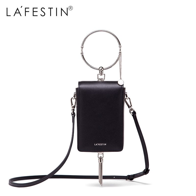 LAFESTIN Women Circle Round Tote Bag New 2018 Tassel Mobile Phone Bag Casual Tote Clutch Bag Ladies Small Mini Shoulder Bag
