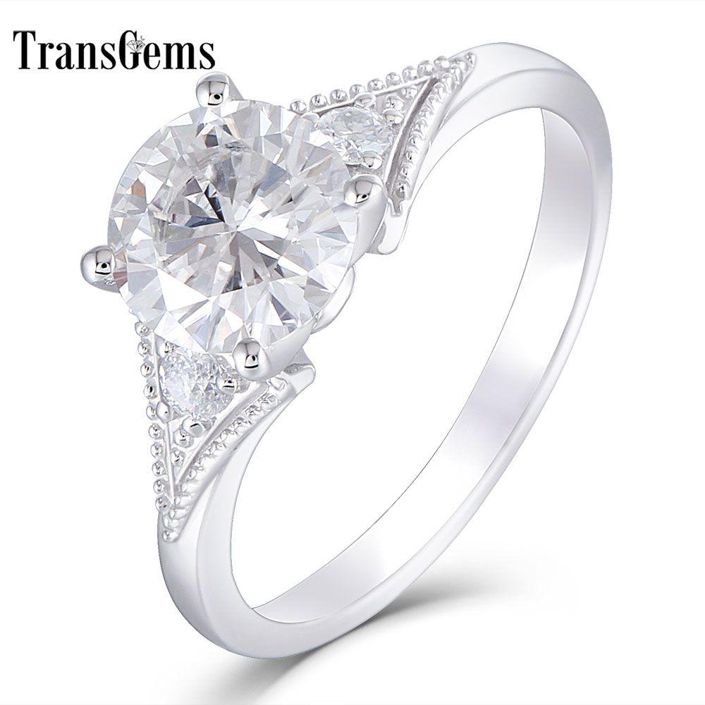 Transgems 14k 585 White Gold Center 1.5ct 7.5mm FG Color Moissanite Two Piece 2.5mm Side Moissanite Engagement Ring for Women