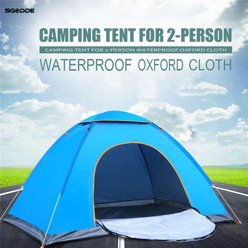 SGODDE Outdoor Portable Waterproof <font><b>Hiking</b></font> Camping Tent Anti-UV 2 Person Ultralight Folding Tent Pop Up Automatic Open Sun Shade