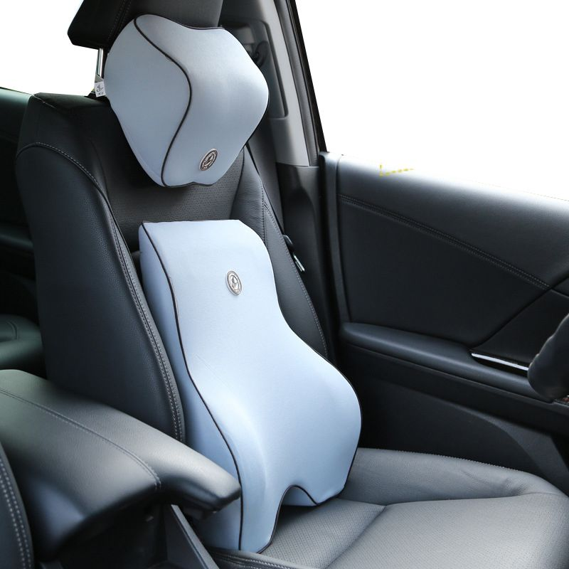 <font><b>2pcs</b></font> Car Auto Seat Supports Back Cushion And Headrest Neck Pillow Memory Foam Lumbar Back Support Driver Spine Pain Pillow Black
