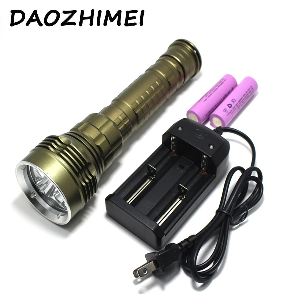 10000LM Underwater Dive Light 5*L2 led Torch 26650 torch 100M underwater tactical hunting flashlight +2*26650 Battery+charger