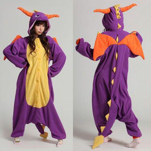 Dropshipping Adult Unisex Pajamas Cosplay Costume Sleepwear Spyro Dragon pyjamas Animal Onesie pijamas pajama