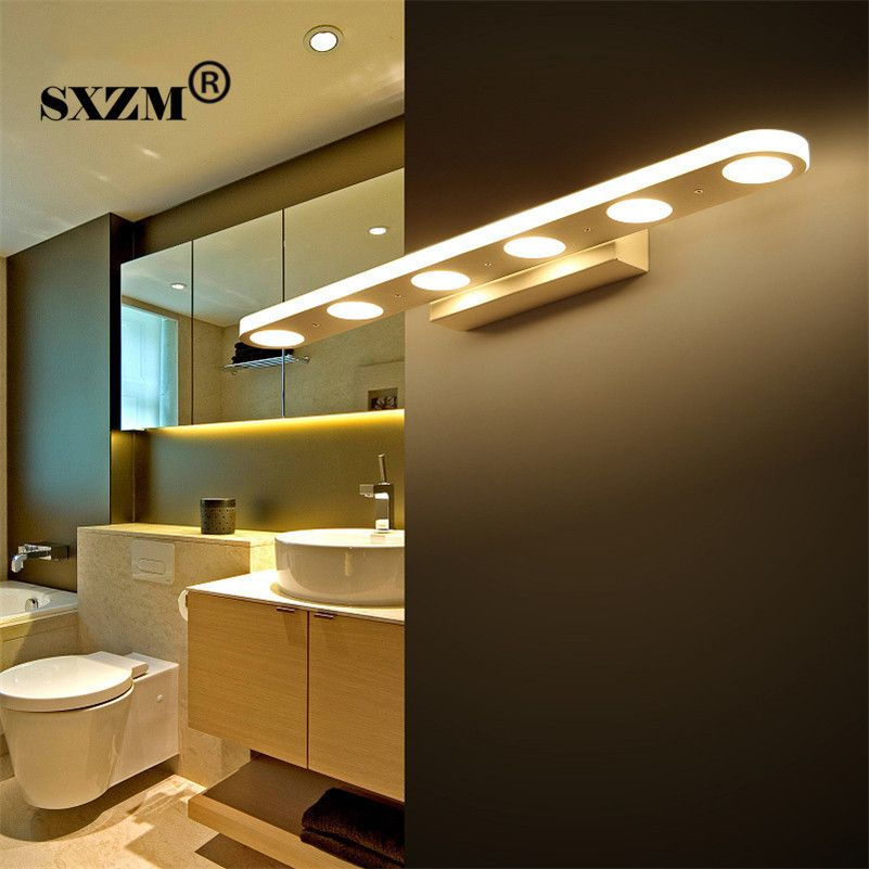 SXZM 38cm 58cm Led mirror light 12W or 18W waterproof wall lamp fixture AC110V 220V Acrylic wall mounted bathroom lighting