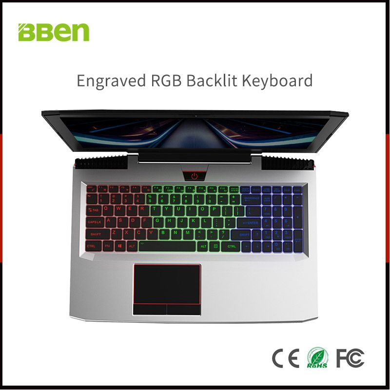 BBEN Laptop Nvidia GTX1060 GDDR5 Intel i7 Kabylake 8GB RAM M.2 SSD RGB Backlit Keyboard Win10 WiFi BT Gaming Computer 15.6'' IPS