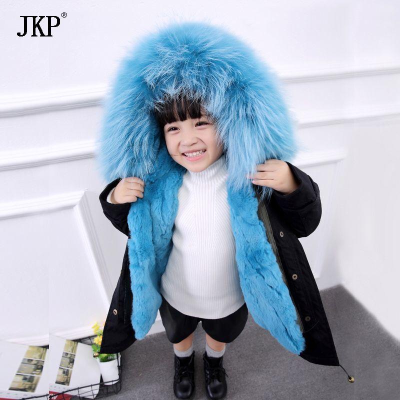 Winter Children Real rabbit Fur Parkas Kids Raccoon fur Outwear Coats Boys Girls Rabbit Fur Detachable Liner jacket